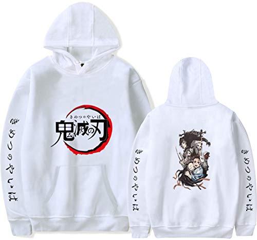 PANOZON Sudadera Hombre Demon Slayer Impresión de Espada Mata-Demonios Hoodie de Anime con Capucha (2XL, Blanco 66-1)