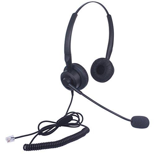 Xintronics Telefon Headset RJ11 Binaural mit Noise Cancelling Mikrofon, Festnetztelefon Kopfhörer Geräuschunterdrückung für Aastra ShoreTel Plantronics Alcatel Lucent Siemens ROLM(X20A1)