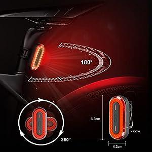 Luz Bicicleta Trasera LED 6 Modos de Iluminación Luz de Bicicleta Recargable USB Linterna Batería de 400mAh Impermeable Protección para Ciclismo, Carretera y Montaña