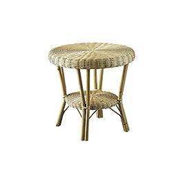 AUBRY GASPARD Table Basse en moelle de rotin Naturelle et manau et 58x58x55cm