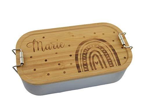Brotdose Brotbox Lunchbox Blechdose Name Kindergarten Bambus Deckel Kind Taufe Weihnachten personalisiert Geschenk Geburtstag Schule Regenbogen