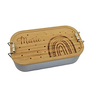 Brotdose Brotbox Lunchbox Blechdose Name Kindergarten Bambus Deckel Kind Taufe Weihnachten personalisiert Geschenk…
