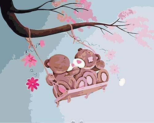 NumbersDigital PaintingDIY olieverfschilderij Swinging Bear Tract Hand Drawn Action, Canvas DIY xDigital Paintinging Schilderij 40 x 50 cm (zonder frame) Home Decor