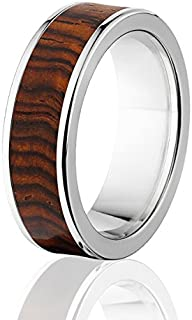 New Cocobolo Wood Rings, Exotic Hard Wood Wedding Band w/ Comfort Fit