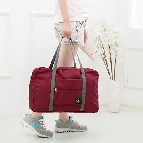 Axgo Folding Travel Duffel Bag Packable Light Nylon Water Resistant Tote Weekend Getaway Overnight Carry-on Shoulder, Wine Red