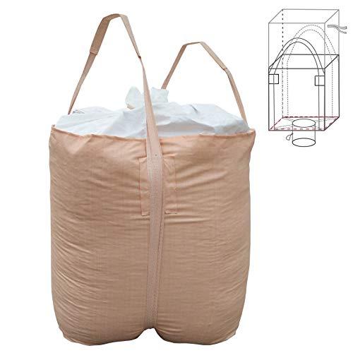 Jumbulk Duffle Top, Spout Bottom FIBC Bulk Bag, SWL 2200lbs @ Safty Factor 5:1, 35'L x 35'W x 43'H, Woven Polypropylene Bags, 1 One Ton Bag (1)