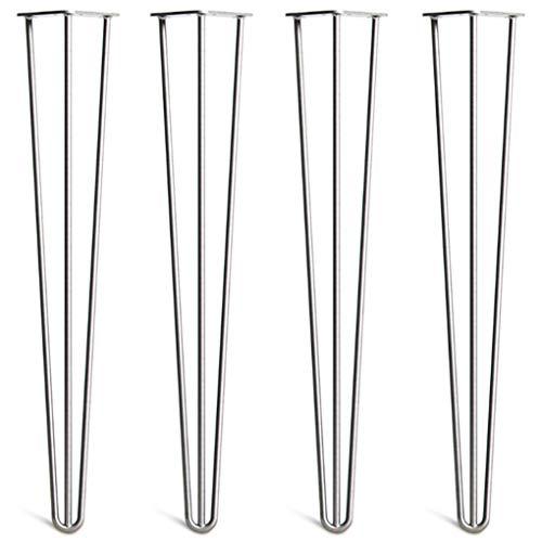 4 x Haarnadel-Tischbeine - Überlegene Konstruktion aus doppelt geschweißtem Stahl mit freien Schrauben, Bauanleitung und Schutzfüßen - Moderner Mid-Century-Stil - 700 mm, alle Oberflächen (10 mm)