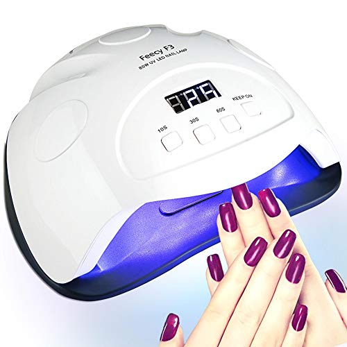 UV LED Nail Lamp, 80W Fast Nail Dryer for Gel Polish, Professional Gel Lamp Machine Automatic Sensor with 4 Timer Settings 10/30/60/99S