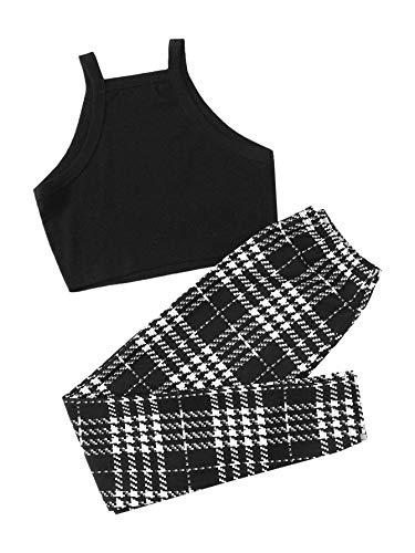 Floerns Women's 2 Piece Scallop Trim Tank Crop Top and Long Legging Sets