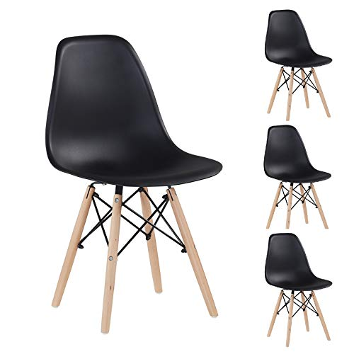 Merax Modern Living Dining Room Chairs Set of 4, Including Solid Wood Legs for Kitchen Bedroom, Black/DSW
