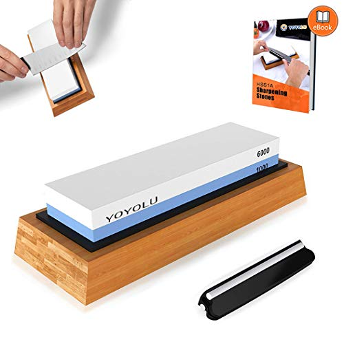 Whetstone Knife Sharpening Stone Set, Premium Diamond Sharpener 2 Sided Grit 1000/6000 Waterstone Kit, Best Kitchen Wet Honing Stone Tool for knives With Non-Slip Bamboo Base & Angle Guide By YOYOLU