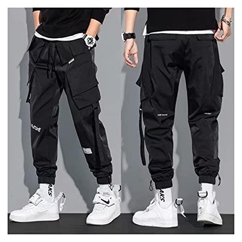 DOUYUAN Pantalón Cargo de Punk Pant Motores de la Calle de los Hombres Moda Japonesa Harajuku Casual Hombre Hip-Hop Pantalones Pantalones Pantalones (Color : Black, Size : L(55-60kg))