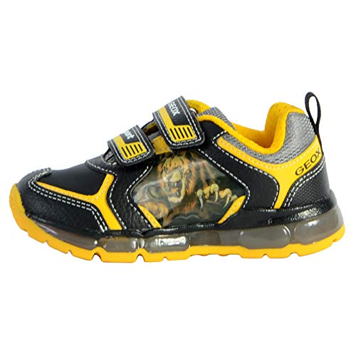 Geox Android Boy, Sneaker, Negro (Black/Yellow), 33 EU