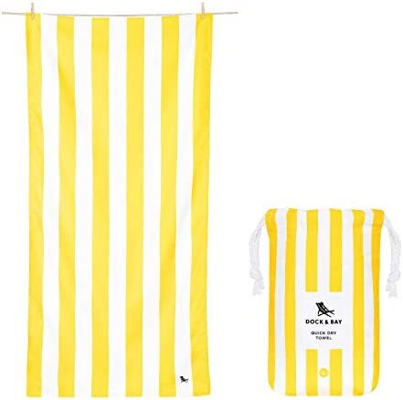 Lightweight Travel Towel for Beach Cabana Boracay Yellow Extra Large 200x90cm 78x35 Fast Drying product image