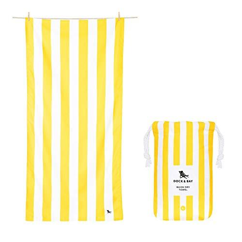 Toallas de microfibra amarillas para Playa y Viajes, marca Dock & Bay