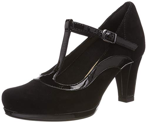 Clarks Damen Chorus Pitch T-Spangen Pumps, Schwarz (Black Combi), 39.5 EU
