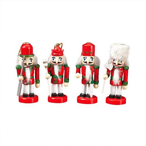 Ingeniously Dekoration 10 cm 4 Traditionelle Puppe König Soldat Nussknacker Sammeln Holz Weihnachten Nussknacker Anhänger Festliche Weihnachtsdekoration Rot Weiß Serie