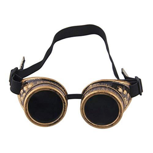 XXYQ Gafas Steampunk Gafas Vintage Retro Soldadura Punk Gafas de Sol góticas Gafas Steampunk con Estilo Gafas Ciclismo Gafas-Amarillo