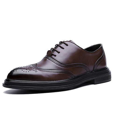 Sunny&Baby Homme d'affaires Oxford Casual Fashion Retro Brush Couleur Classic Outsole Brogue Chaussures Résistant à l'abrasion (Color : Marron, Taille : 38 EU)