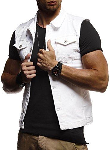 Leif Nelson Herren Jeansweste Jeans Weste Basic Stretch Destroyed Vintage Denim Stehkragen Jeansjacke Hoodie Freizeitjacke Kapuzenpullover Pullover T-Shirt Slim Fit LN9300; Größe L, Weiß