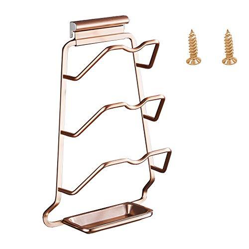Pared Tapa de Olla Rack, Aluminio Estante de La Olla, Práctico Organizador de Tapas de Ollas y Sartenes con Bandeja de Drenaje y 2 Tornillos para Almacenamiento Multifuncional de Cocina (Oro Rosa)