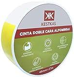 Cinta Doble Cara Extrafuerte para Alfombras - Moquetas - Césped Artificial - Cristal - Madera Barnizada - Plástico Liso - Poliestireno - 48mm x 27m