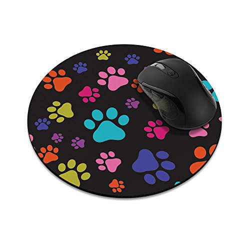 Non-Slip Round Mousepad, FINCIBO Multicolor Dog Paws Mouse Pad for Home, Office and Gaming Desk