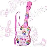 sanlinkee Guitarra para Niños,4 Cuerdas Guitarra Electrica Infantil Instrumentos de Cuerda Musicales Educativos Simulación Juguete Regalo para Principiantes Infantiles y Niña 3+ años (Rosa)