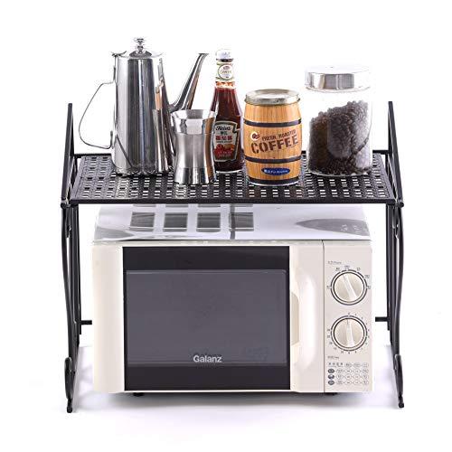 Maisax Küchenregal Arbeitsplatte Mikrowelleregal Eisen Standregal Küchengeschirrregal 55cm L x 46cm W x 36cm H (Schwarz)