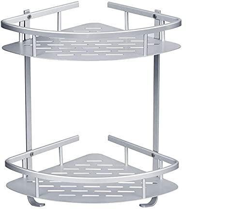 UrMsun Estantes de Esquina para Baño/Sin Perforación Pegamento Autoadhesivo Gancho de Aluminio Anodizado Montaje en Pared con 2 Estantes Organizador para Jabón, Champú (Estantes Autoadhesivo)