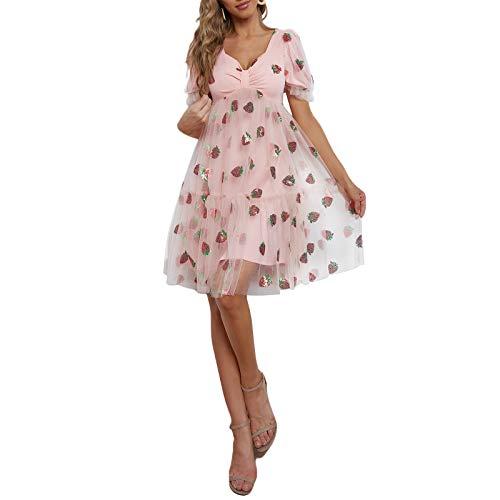 Olisenci Damen Kurz- / Langarmgarnkleid, Besticktes Erdbeer-Pailletten-Kleid Mit V-Ausschnitt Und Elastischem Taillenseil (Rosa 3, M)