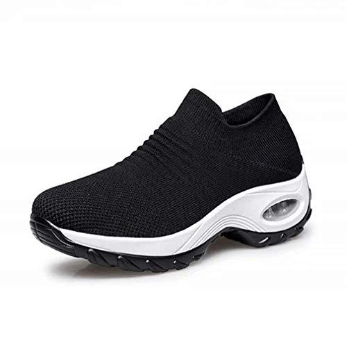 Zapatillas Deportivas de Mujer Gimnasio Zapatos Running Deportivos Fitness Correr Casual Ligero Comodos Respirable Negro Gris Morado 35-42 BKWH38