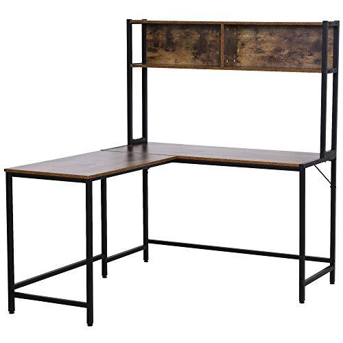 HOMCOM Industrial L-Shaped Work Desk & Storage Shelf Steel Frame Adjustable Feet Corner Workstation Home Office Study Stylish Brown Black