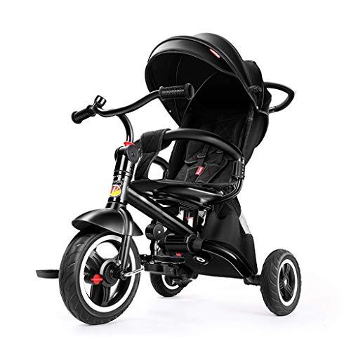 CHFQ Cochecito de bebé Triciclo de bebé, Carrito de Bicicleta para niños Integrado Sentado y acostado, Paraguas Giratorio Bicicleta para niños