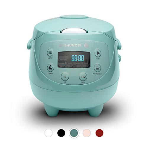 Digitaler Reishunger Mini Reiskocher (0,6l/350W/220V) Multikocher mit 8 Programmen, 7-Phasen-Technologie, Premium-Innentopf, Timer- und Warmhaltefunktion – Reis für bis zu 3 Personen (Mint)