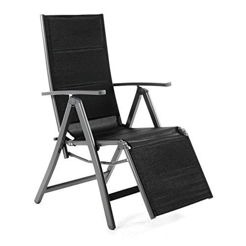 Nexos Liegestuhl DELUXE Alu schwarze Textilene Klappstuhl mit Fußstütze Campingliege Rahmen anthrazit Gartenliege leicht stabil für Terrasse Balkon witterungsbeständig 108x67x60 cm mit Armlehne