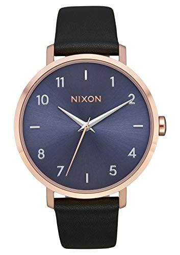 NIXON Arrow Leather A1103 - Rose Gold/Storm - 62M Water Resistant Women's Analog Classic Watch (38mm Watch Face, 17.5mm Stainless Steel Band)