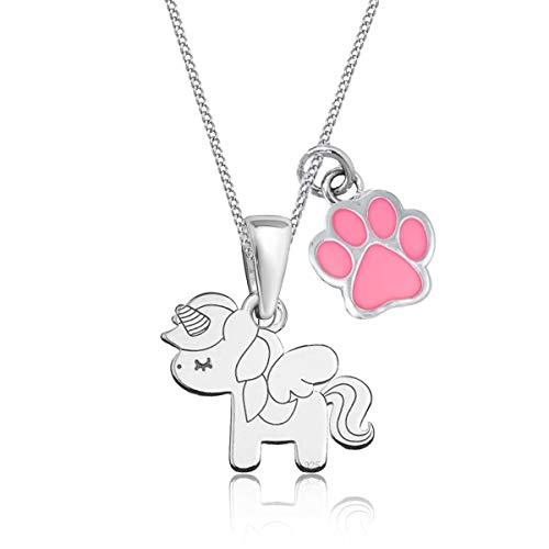 Pegasus Einhorn Pfötchen Anhänger mit Halskette 925 Echt Sterling Silber Pferd Kette für Mädchen Kinder Set (Pfote Rosa, 38)
