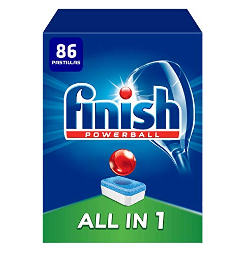 Finish Powerball All in 1 Original - Pastillas para el Lavavajillas Todo en 1, Fragancia Limón, Formato 86 Unidades