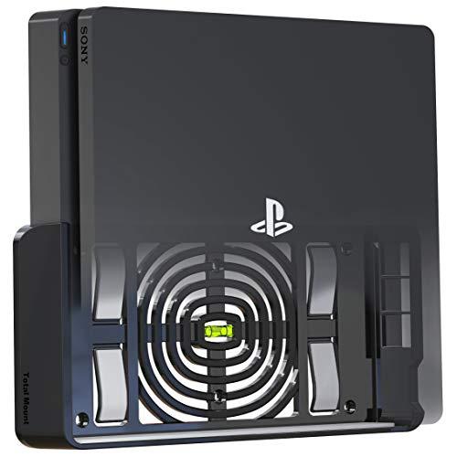TotalMount Wandhalterung für Sony PlayStation 4 Slim Konsole mit Hitze Management und Sicherheits-Klip Schwarz
