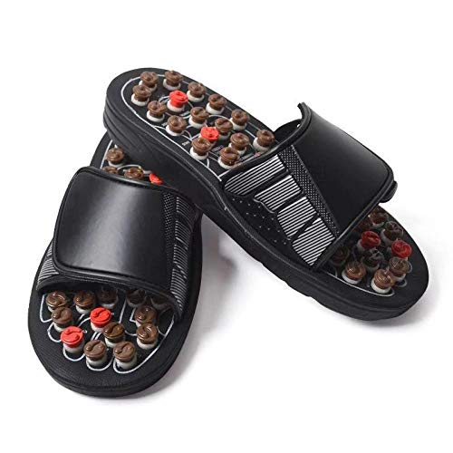 Zapatillas de masaje Puntos Girar Salud Masaje Zapatillas Acupuntura Cuidado Pie Zapatillas-Marrón Chino Giratorio Masaje_38-39