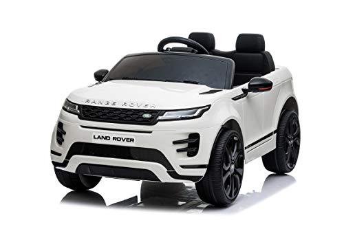 Mondial Toys Auto Macchina ELETTRICA per Bambini 12V Range Rover EVOQUE con Sedile in Pelle Cintura di Sicurezza A 5 Punti Telecomando Bianco