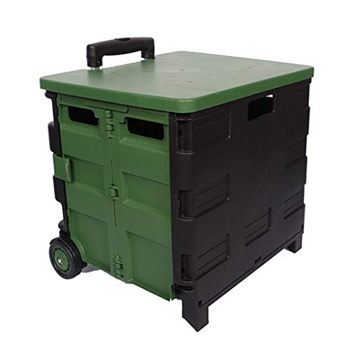 Heavy Duty Storage Cart Trolley,Folding Boot Cart Shopping Trolley on Wheels,35Kg Capacity Cart Crate Box Utility Cart,Portable