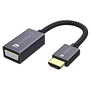IVANKY Adaptador HDMI a VGA 1080P, Convertidor Macho a Hembra para PC, TV, Ordenadores, PS4/3 Xbox y Otros Dispositivos HDMI - Negro