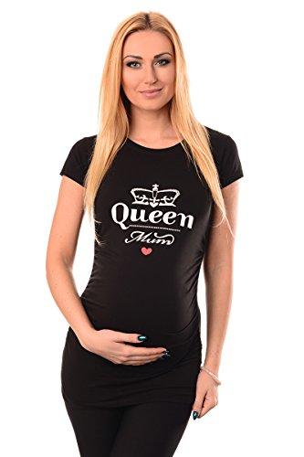 Purpless Maternity Coton Haut Grossesse Top T-Shirt pour Enceinte Femmes Slogan Print Queen Mum Thème 2009 (44, Black)