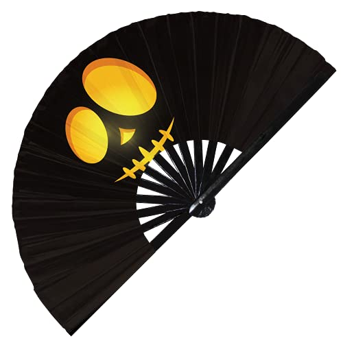 Calabaza Halloween Cara Abanico plegable Ventilador de mano UV resplandor Abanicos de mano aterrador Calabaza Cara perezosa Traje Accesorios Decoración Rave Ventilador de bambú (Estilo 8 Amarillo)