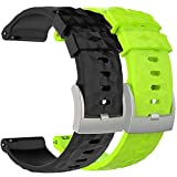Pwkutn Silicone Replacement Accessory Watch Band Wrist Strap Bracelet for Suunto 9 and Spartan Sport Wrist HR Baro Smart Watch 2Pack B&L