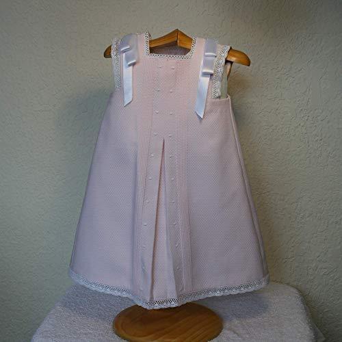 Faldón en pique rosa con tira bordada blanca Talla 3 meses