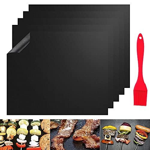 Tappetini per Barbecue, 5 Pezzi 50 x 40 cm Barbecue Grill Mat Stuoie da Forno Antiaderente Riutilizzabile per griglia a Carbone, Gas o elettrica