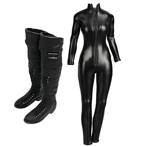 Hellery 1/6 Vrouwelijke Actiefiguurkleding - Zwarte Jumpsuit met Ritssluiting En Overknee Laarzen